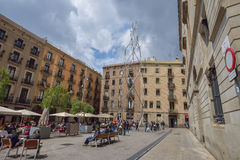 BARCELONA, ESPANHA - 28 DE ABRIL: Quarto gótico de Barcelona o 28 de abril de 2016 em Barcelona, Espanha Fotos de Stock Royalty Free