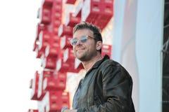 BARCELONA, ESPANHA - 11 DE JULHO DE 2014: Damon Albarn, cantor do borrão e Gorillaz, execução viva Foto de Stock Royalty Free