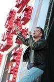 BARCELONA, ESPANHA - 11 DE JULHO DE 2014: Damon Albarn, cantor do borrão, execução viva Imagem de Stock Royalty Free
