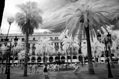 BARCELONA, ESPANHA - 9 DE JUNHO: Plaza real em junho de 2013 em Barcelon Fotografia de Stock