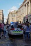 Barcelona, Espanha - 24 de setembro de 2016: Carro de polícia de Guardia Urbana em Barcelona Fotografia de Stock Royalty Free