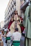 Barcelona, Espanha - 24 de setembro de 2016: O festival anual Giants de Merce do La desfila Imagem de Stock