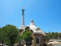 05 07 2016, Barcelona, Espanha: A entrada do parque Guell com t Fotografia de Stock Royalty Free