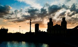 Barcelona in evening sky Stock Image