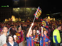 Barcelona fans celebrating Royalty Free Stock Photos