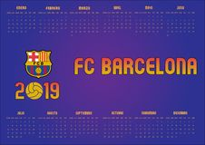 2019 Barcelona FC Calendar in Spanish royalty free stock photos