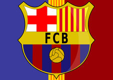 Barcelona FC. Illustration of scude of FC Barcelona with colors in font vector illustration