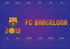Barcelona FC kalender 2019 i spanjor royaltyfria foton