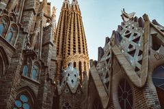 BARCELONA - AUGUST 9: The Nativity Facade of the Sagrada Familia, the most iconic landmark royalty free stock photography