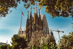 BARCELONA - AUGUST 9: The Nativity Facade of the Sagrada Familia, the most iconic landmark stock images