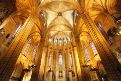 BARCELONA - FEBRUARY 9: The Cathedral of the Holy Cross and Saint Eulalia on February 9, 2016 in Barcelona, Spain. It is a hall c royalty free stock image
