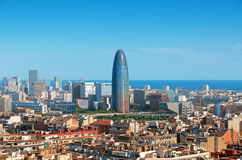 Barcelona financial district. Barcelona`s skyline with skyscrapers including Torre Agbar stock photography