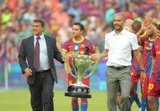 barcelona firar laget för fclaligaen arkivfoton