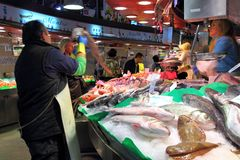 Barcelona fish market Stock Photo