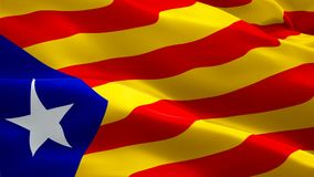 Barcelona flag waving in wind video footage Full HD. Realistic Barcelona Flag background. Catalonia Flag Looping Closeup 1080p Ful royalty free illustration