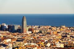 Barcelona flyg- sikt, Barcelona, Spanien Arkivfoto