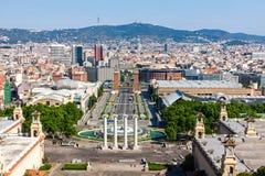 Barcelona flyover powietrznej agbar lewo Hiszpanii wieży o widok Zdjęcia Stock