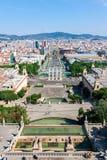 Barcelona flyover powietrznej agbar lewo Hiszpanii wieży o widok Obraz Stock