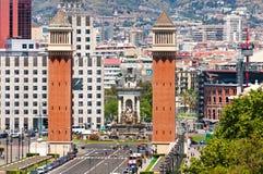 Barcelona flyover powietrznej agbar lewo Hiszpanii wieży o widok Obraz Royalty Free
