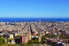Barcelona flyover powietrznej agbar lewo Hiszpanii wieży o widok Fotografia Royalty Free