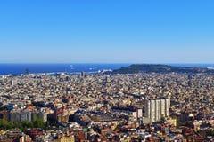 Barcelona flyover powietrznej agbar lewo Hiszpanii wieży o widok Obrazy Royalty Free