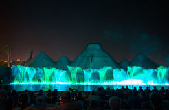 barcelona fontann krajobrazowy śpiew Jarzyć się barwione fontanny i laserowego przedstawienie Obrazy Royalty Free