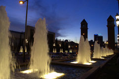 Barcelona fountains at night Royalty Free Stock Photography