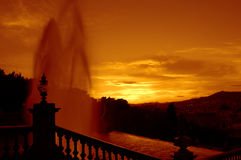 Barcelona fountains at sunset Stock Photo