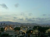 Barcelona från Mont Juic royaltyfri fotografi