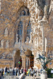 Barcelona Fragment av templet av Sagrada Familia Fasad av Nati Royaltyfri Fotografi