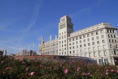 Barcelona, fuente en el cuadrado de Catalunya Fotos de archivo