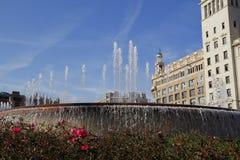 Barcelona, fuente en Plaça Catalunya Imagen de archivo