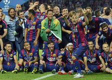 Barcelona gana final de la liga de los campeones Imagen de archivo libre de regalías