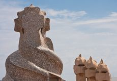 Barcelona. Gaudi: La Pedrera or Casa Mila Stock Photos