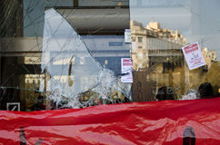 Barcelona - General strike. Spanish unions call for nation wide general strike against the new conservative Government´s labour reforms. Vandalism, like broken Stock Photo