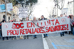 Barcelona - General strike. Spanish unions call for nation wide general strike against the new conservative Government´s labour reforms. Tens of thousands of Stock Photo