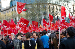 Barcelona - General strike. Spanish unions call for nation wide general strike against the new conservative Government´s labour reforms. Tens of thousands of Royalty Free Stock Photos