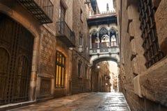 Barcelona Gothic quarter. Carrer del Bisbe Stock Photos