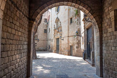Barcelona Gothic quarter. Corner with arch Stock Image