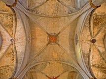 Barcelona - gotiskt tak av kyrkliga Santa Maria del Mar Royaltyfria Foton