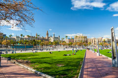 Barcelona green park Royalty Free Stock Photo