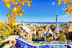 barcelona guellpark spain Royaltyfri Bild
