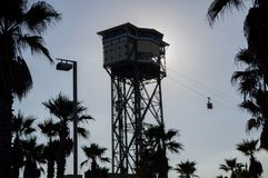 Barcelona-Hafen-Drahtseilbahn Transbordador Aeri Del Port, Spanien Stockfoto