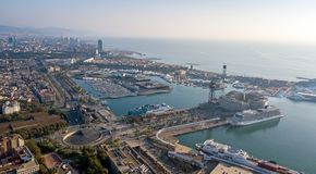Barcelona harbor aerial. A drone photo of Barcelona harbor with docked cruise ships stock image