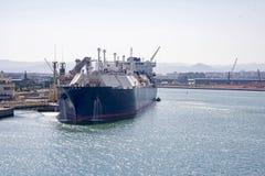 Barcelona harbor with cargo ship Royalty Free Stock Image