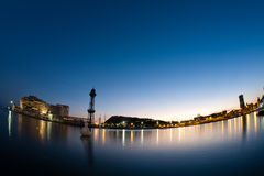 Barcelona harbor in the evening. Long exposure with fisheye Stock Photography