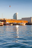 Barcelona harbor with modern office tower Stock Image
