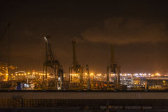 Barcelona harbor view at night Stock Photography