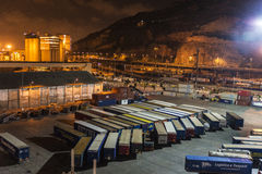 Barcelona harbor view at night Royalty Free Stock Photo