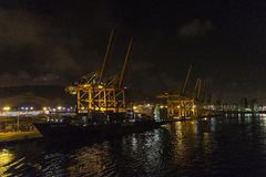 Barcelona harbor view at night Royalty Free Stock Image